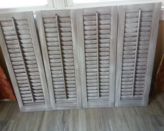 Set of 4 Wood Shutters - Gray/White Distressed