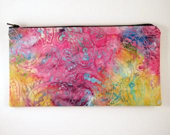 Colorful Paisley Batik Zipper Pouch, Pencil Pouch, Make Up Bag, Gadget Bag