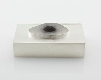 Mystic Eye Drusy Sterling Silver Box - Bezel Set Druzy Container - Hand Fabricated - One of a Kind
