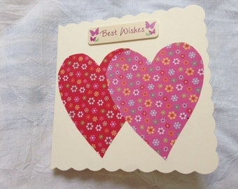 Two Hearts Together, Best Wishes Card, I Heart You Card, Red and Pink Hearts, Mr and Mrs, Mrs and Mrs, Mr and Mr, Getting Married, Big Heart