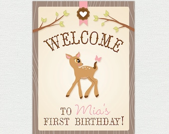Printable Birthday Party Welcome Sign - Door Sign - Woodland Birthday Party - Customizable