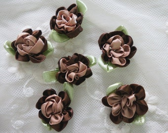 brown Satin Ribbon Flower Appliques -20pcs