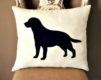 Labrador Dog Silhouette Throw Pillow, Decorative Pillow, Home Decor, Dog Pillow, Dorm Decor, Christmas Gift, Gift for Her, Gift for Mom