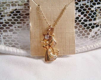 Calling All Angels! Monet Gold Tone Rhinestone Collectible Angel Trinket Necklace