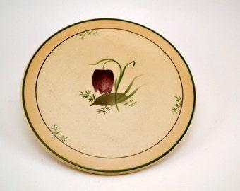 Vintage Danish Vibeaeg ceramic trivet with fritillaria motif