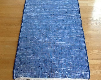 """Royal Blue 49 1/2"""" X 28"""" cotton rug custom hand woven made from recycled high quality cotton lanyard remnants"""