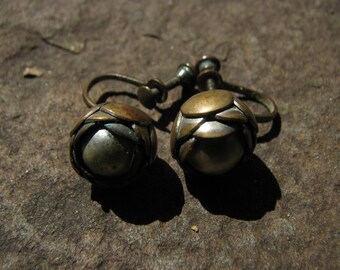 Vintage Screw - On Earrings - Copper Earrings