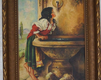 "Antique Oil Painting on Canvas with Frame ""ROMAN GIRL At the FOUNTAIN"""