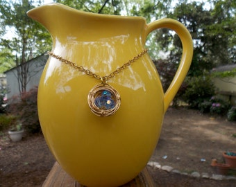 Gold Birds Nest Necklace with Blue Eggs (Nc0300)