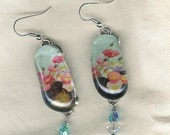 Watercolor Poppy Earrings, Fused Glass Jewelry, Dangle Earring, Free Shipping, BOGO SALE