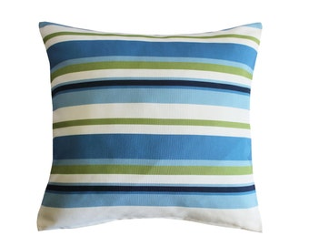 White SteelBlue SkyBlue MidnightBlue YellowGreen Stripe, Decorative Throw Pillow Covers,Couch Pillow 16x16 inch, Cotton Print by LIZI design