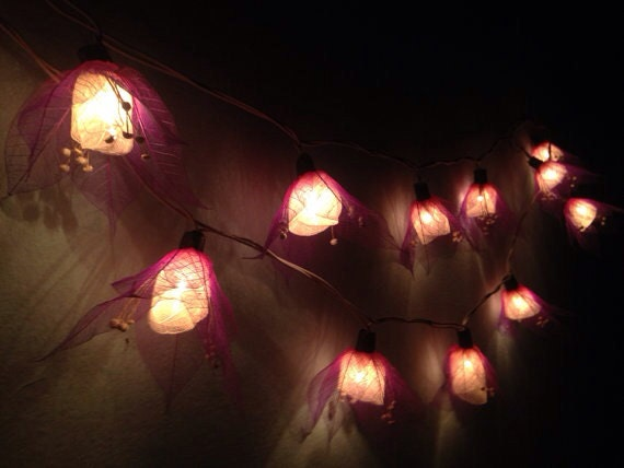 String lights-20 purple tone flower leave fairy by fairylighting