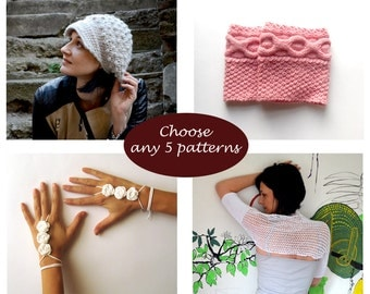 Crochet and Knit Pattern Set - Buy 5 patterns at lower price Combo Deal Discount Package PDF