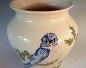 Hand Painted Bluebird Porcelain Vase
