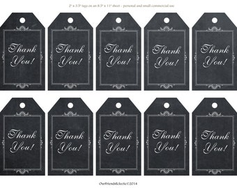 chalkboard thank you tags, Digital thank you tags, printable thank you tags, instant download, wedding thank you tags