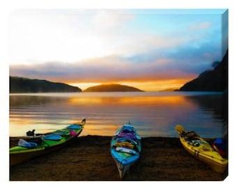 Lake Manapouri Kayak Canvas Print