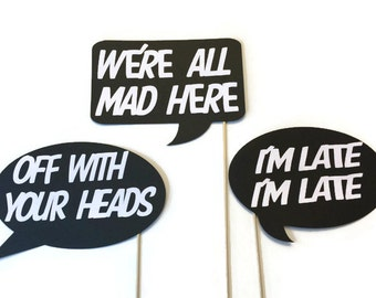 Photo Booth Props - Alice and Wonderland Themed Word Bubbles - 3 Piece Photo Booth Props