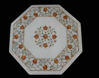 """13"""" x 13 """" Octagon Marble Inlay coffee Table / Pietra dura Carnelian Stone Inlaid Antique Art Living room Tables"""