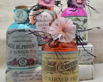 "Decorative Glass Bottle with Vintage look French ""Parfum"" Label- Treasury List Item"