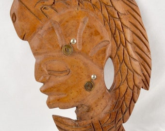 Carved Wood Bust Jamaica Wall Hanging FREE SHIPPING