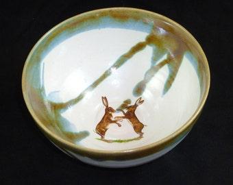 Porridge bowl with boxing hares