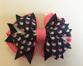 Whale Bow with Pink Base and Navy Spikes
