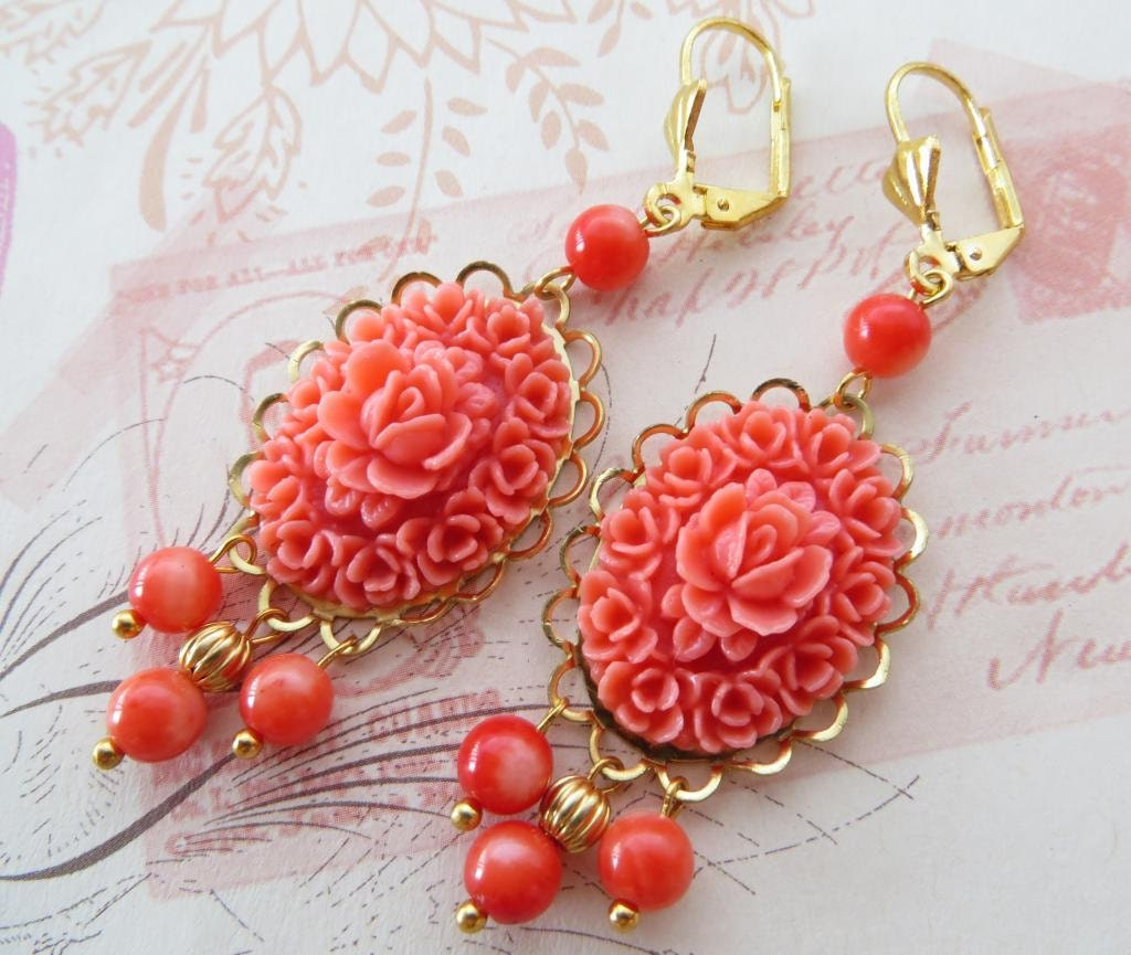 Red Coral Chandelier With 3 Lights: Pink Coral Earrings Chandelier Earrings Vintage Style