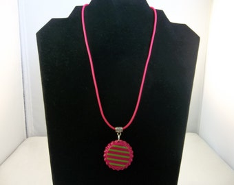 Pink with Green Stripe Bottle Cap Necklace