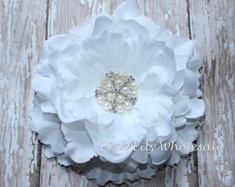 "5"" Ruffled Peony Flower - WHITE - Center Stone Sold SEPARATELY - Large Flower - Wholesale - Peony - Beautiful Flower - Craft Flower"
