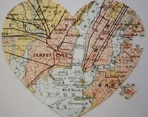 Unique Wedding Gift / Personalized Wedding Gift / Personalized Anniversary Gift / Heart Map / Map Art / I Met You Here Map / Hometown Map