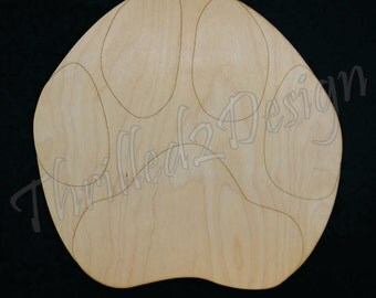 Panther Paw Print - Laser Engraved Lines for easy painting - School Spirit, Home Decor