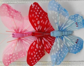 Butterflies, Toppers, Wire, Florists, Craft, Feathers. Set 2