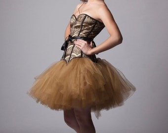 Custom Corset Dress Golden With Black Lace Prom Bridesmades