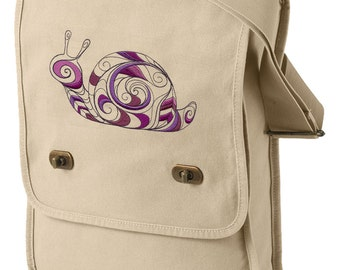 Doodle Snail Embroidered Canvas Field Bag