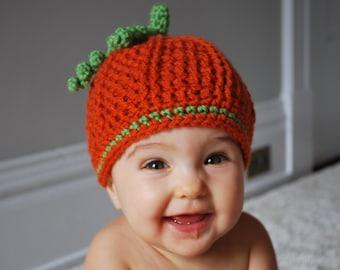 Pumpkin Hat, Children's Fall Beanie, Seasonal Hat, Autumn Hat, Halloween Hat, Photo Prop