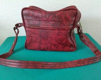 Genuine Naugahyde!  1960's Vintage Red/Black Floral Shoulder Travel Bag, Nifty!