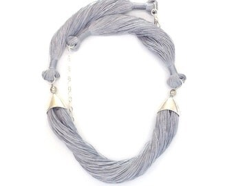 Gray necklace, 3 PARTS. coiled necklace ,textile jewelry, silver necklace,Ruti's soft jewelry,gray silk necklace ,silver jewelry