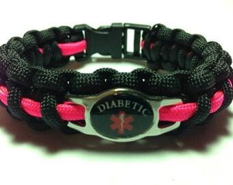 Diabetic Medical Alert Bracelets - Black Charm