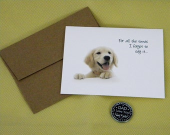 Dad I Love You Token Card, Father's Day Puppy Card, Anytime Card