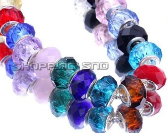 Murano Charm Beads Mix Faceted Lampwork Glass 14mm Fit European Charm Bracelet FREE SHIPPING