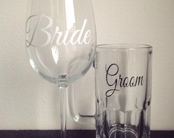 Bride and groom wedding glass set wine glass and beer mug