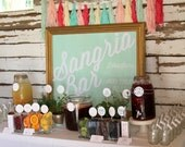 sangria bar wedding or party drink station labels and signs- complete set of printable files