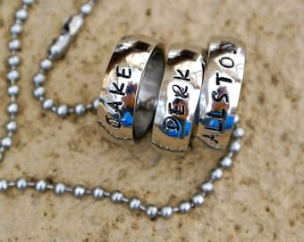 Personalized stainless steel name necklace, mothers day ring,