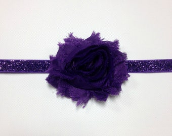 Purple Shabby Headband, Purple Headband, Shabby Headband, Purple Baby Headband, purple flower headband, purple birthday headband
