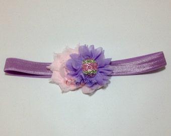 Purple and Pink Headband, Easter Headband, Purple Headband, Lavender Headband, easter egg headband, pink flower headband, Easter clip