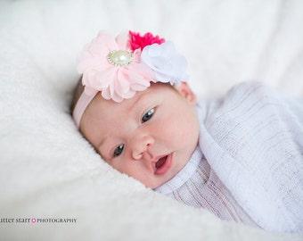 Pink Headband, White Headband, Pink Flower Girl Headband, Pink newborn headband, Pink birthday headband, Hot Pink Headband, flower headband