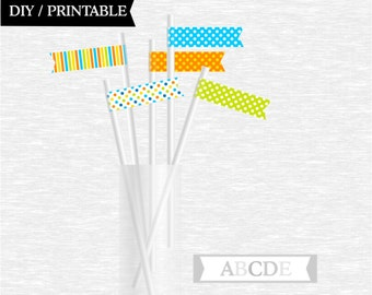Instant Download Straw Flags Polka dots party Birthday party Baby shower DIY Printable (PDMD009)