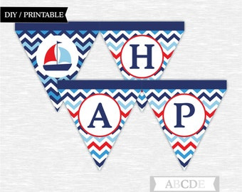 Instant Download Red, Blue and Navy First Happy Birthday Banner Nautical Birthday Party DIY Printable (PDNCH001)
