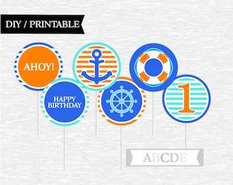 Instant Download Cupcake Toppers First Birthday decorations Nautical Birthday DIY Printable
