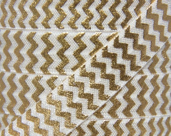 Ivory and Gold Metallic Chevron Fold Over Elastic - Elastic for Baby Headbands and Hair Ties - 5 Yards 5/8 inch Printed FOE